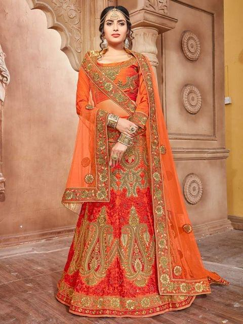 Orange Color Pure Silk Embroidery Work Lehenga Choli 26856