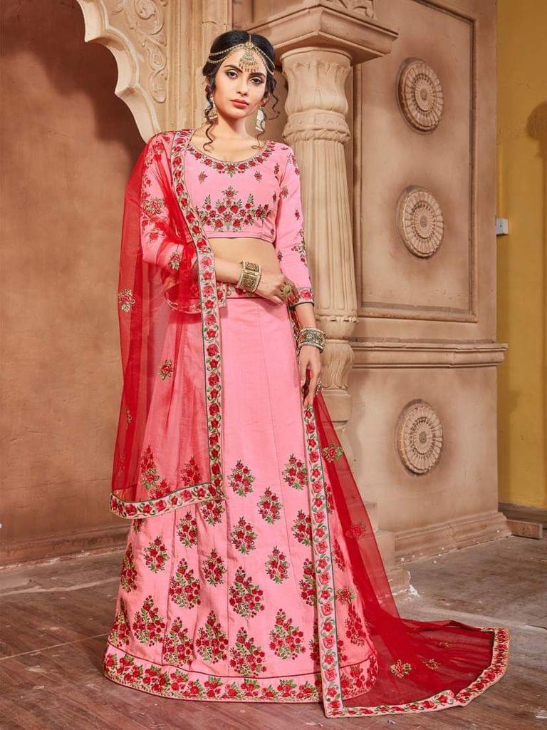 Pink Color Banarasi Silk Embroidery Work Lehenga Choli 26860