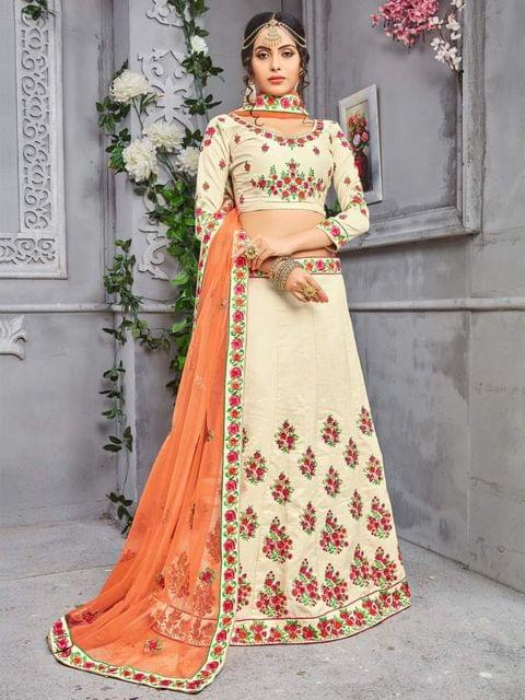 Chiku Color Banarasi Silk Embroidery Work Lehenga Choli 26859