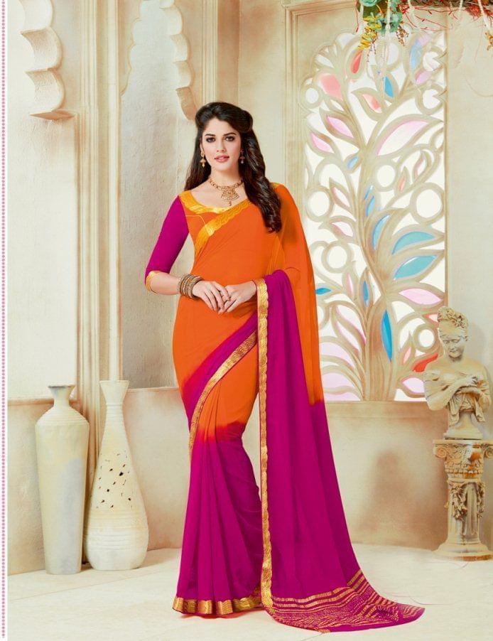 Orange & Pink Color Designer Partywear Chiffon  Saree 26802