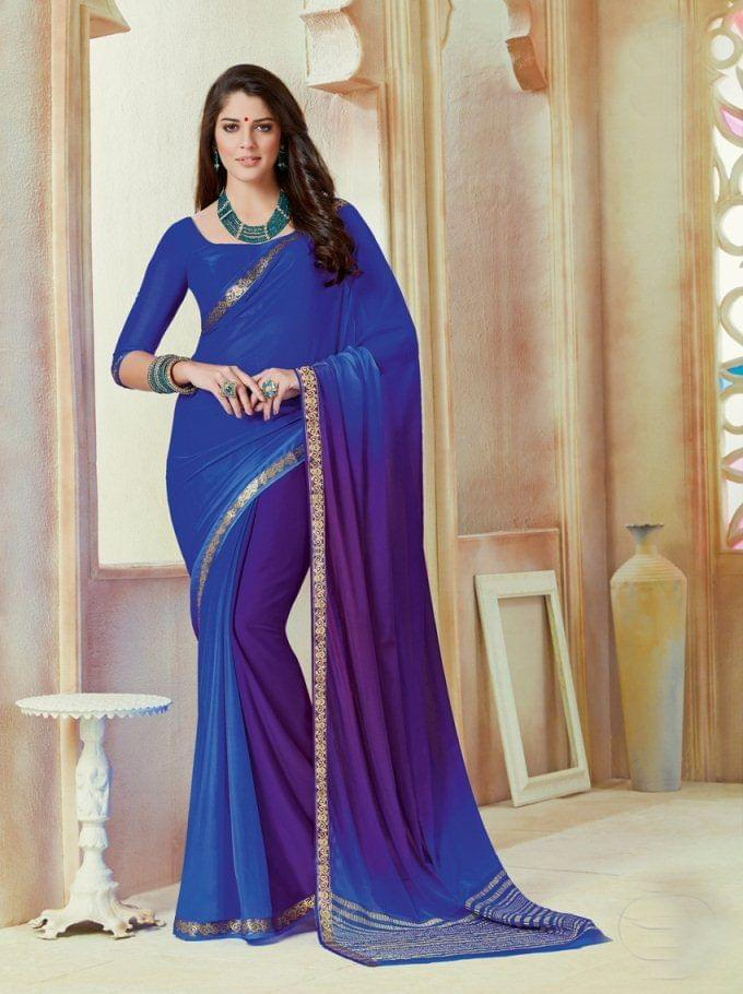 Blue Color Designer Partywear Chiffon  Saree 26804