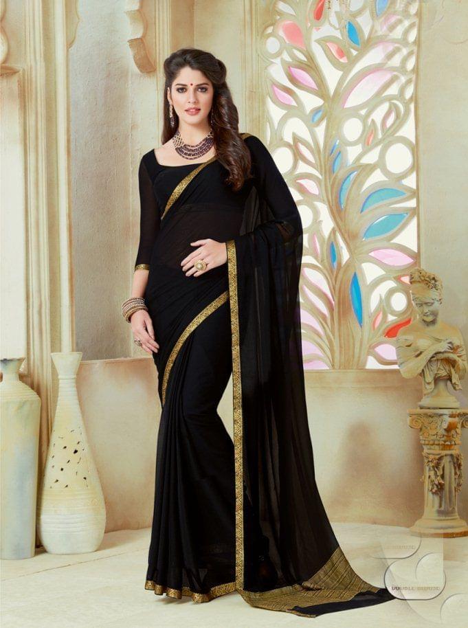 Black Color Designer Partywear Chiffon  Saree 26806