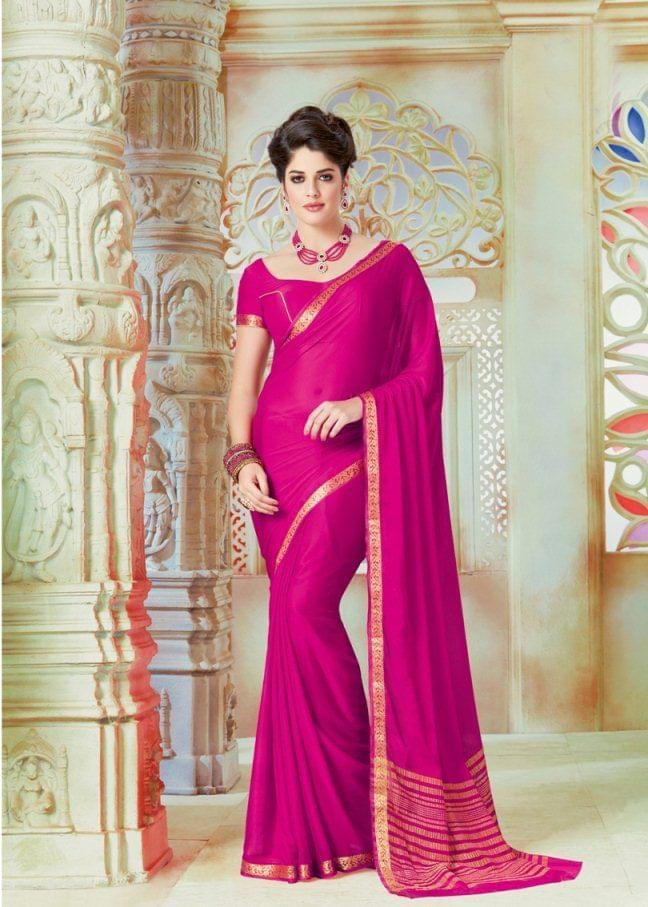 Pink Color Designer Partywear Chiffon  Saree 26805