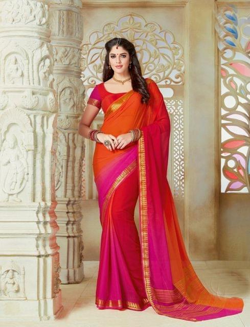 Multicolour Color Designer Partywear Chiffon  Saree 26811