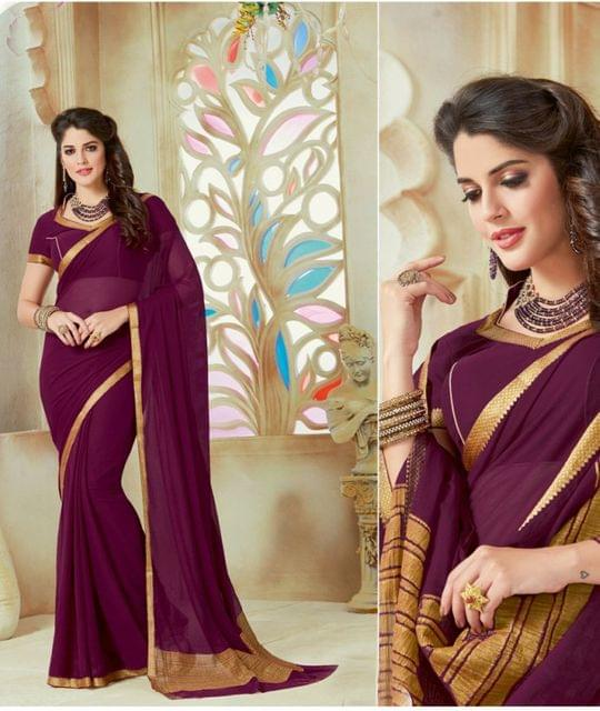 Purple Color Designer Partywear Chiffon  Saree 26815