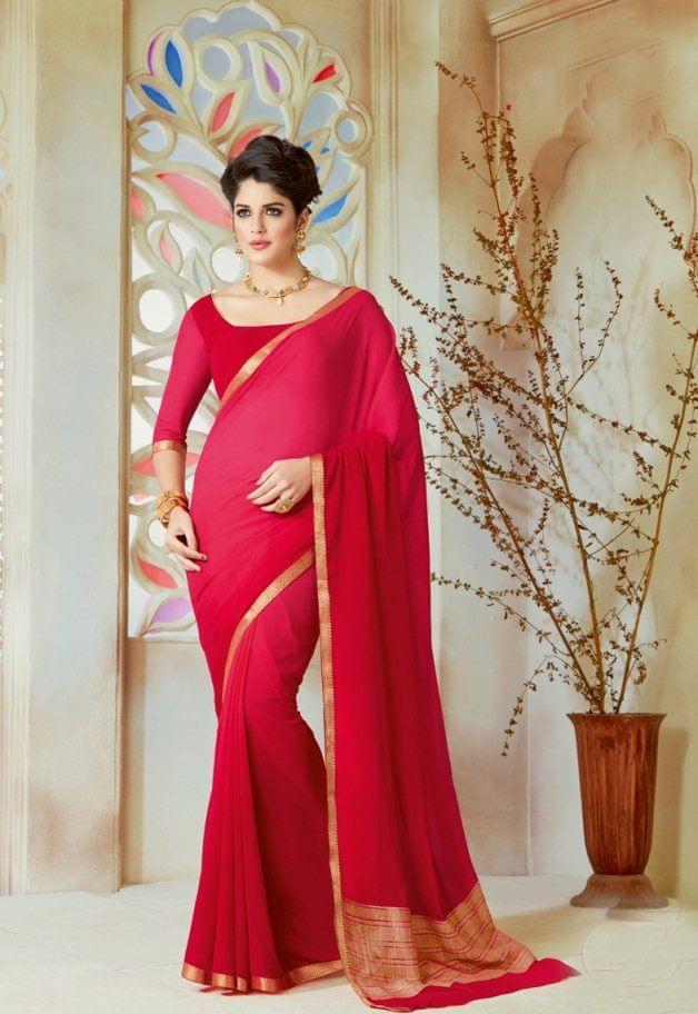 Pink & Red Color Designer Partywear Chiffon  Saree 26817