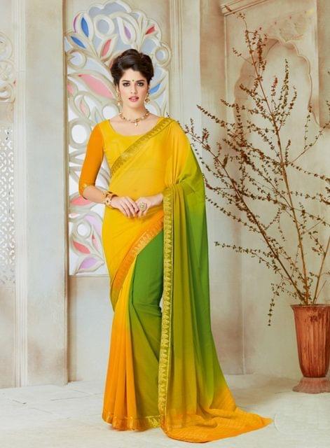 Golden Yellow & Green Color Designer Partywear Chiffon  Saree 26812