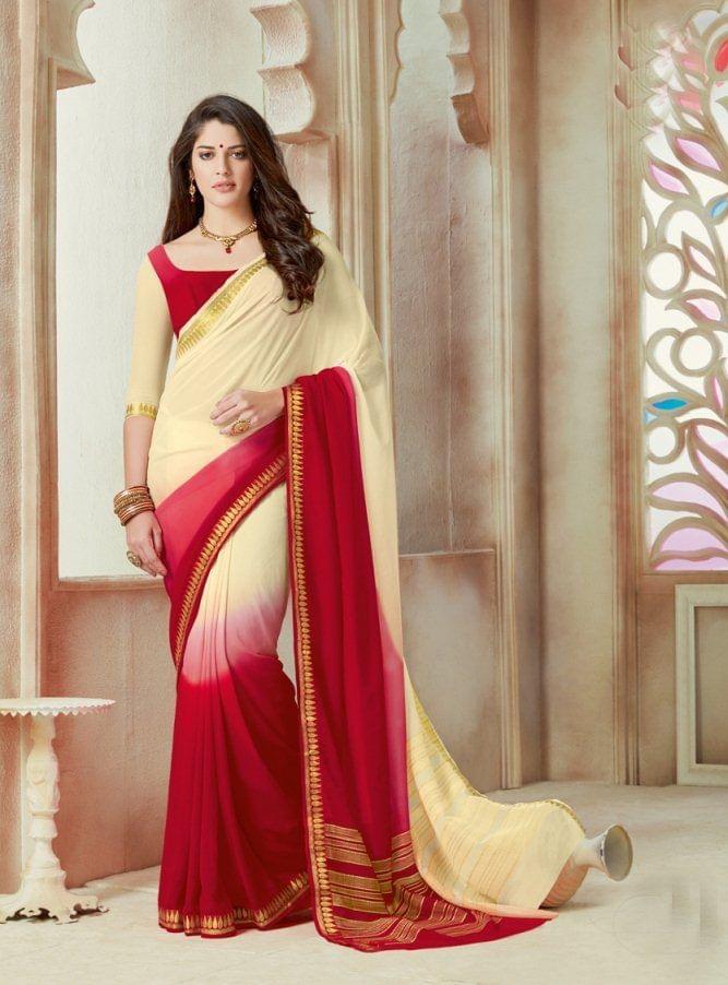 Off White & Red Color Designer Partywear Chiffon  Saree 26814
