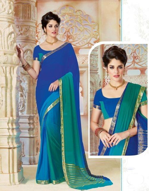 Multicolour Color Designer Partywear Chiffon  Saree 26816