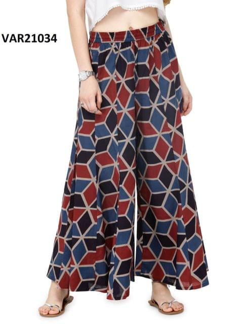 Printed Stitched Cotton Palazzo VAR21034