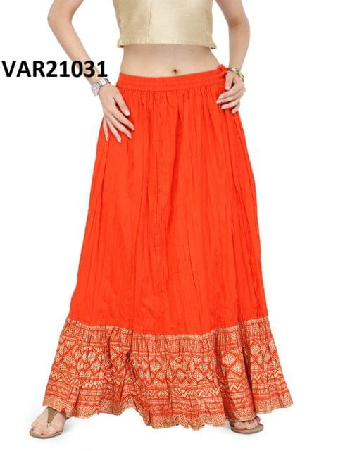 Orange Color Printed Stitched Cotton Skirt Svar21031
