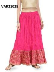 Pink Color Printed Stitched Cotton Skirt Svar21029