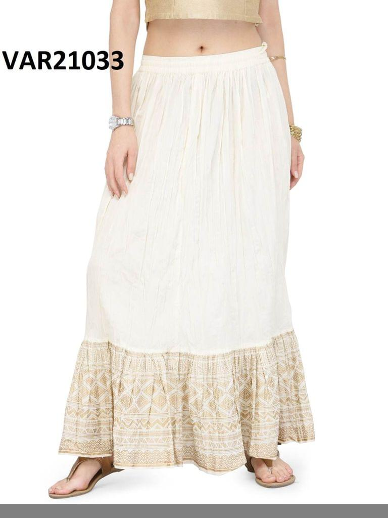 White Color Printed Stitched Cotton Skirt Svar21033