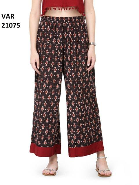 Printed Stitched Cotton Palazzo VAR21075