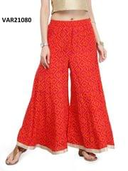 Red Color Printed Stitched Cotton Palazzo VAR21080