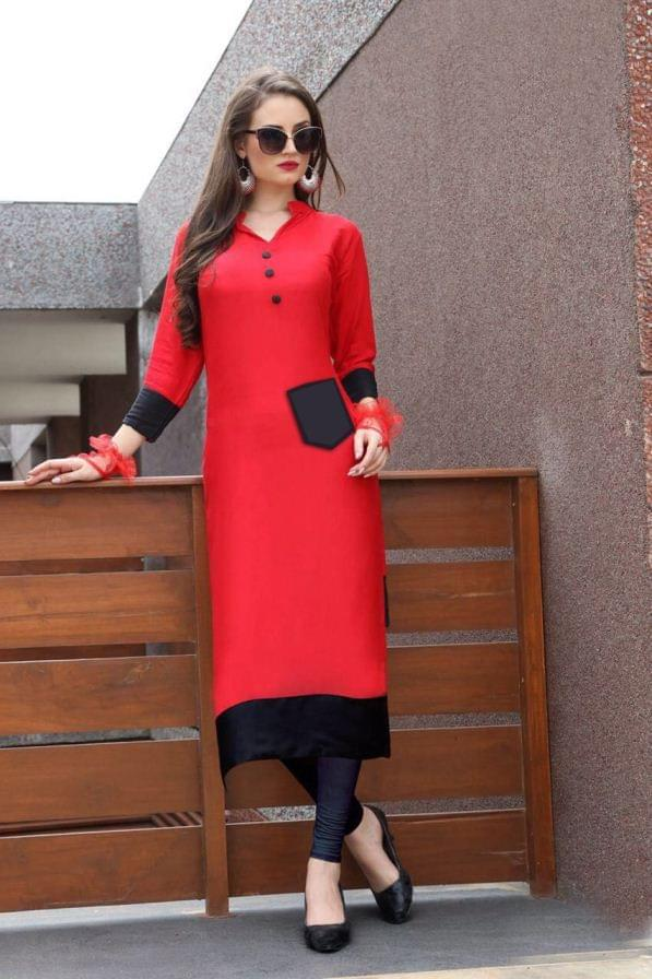 Red Color Heavy Rayon Readymade Kurti 26705