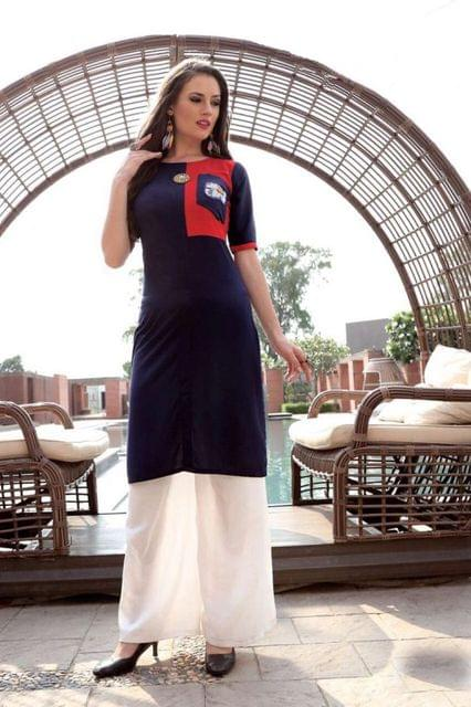 Red & Blue Color Heavy Rayon Readymade Kurti 26710