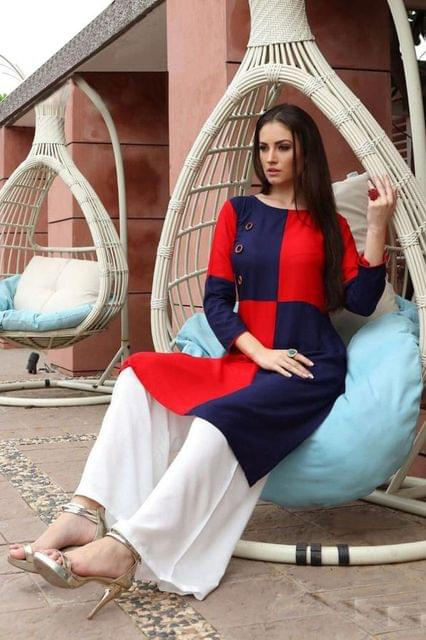 Red & Blue Color Heavy Rayon Readymade Kurti 26709