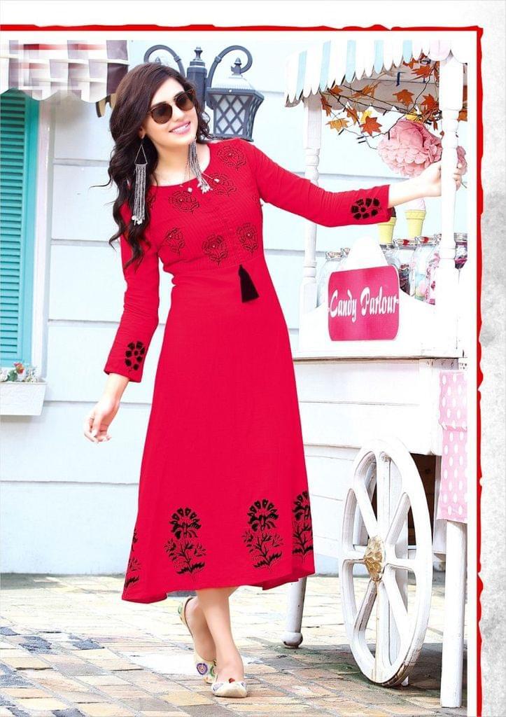 Red Color Rayon Designer Readymade Kurti 26864