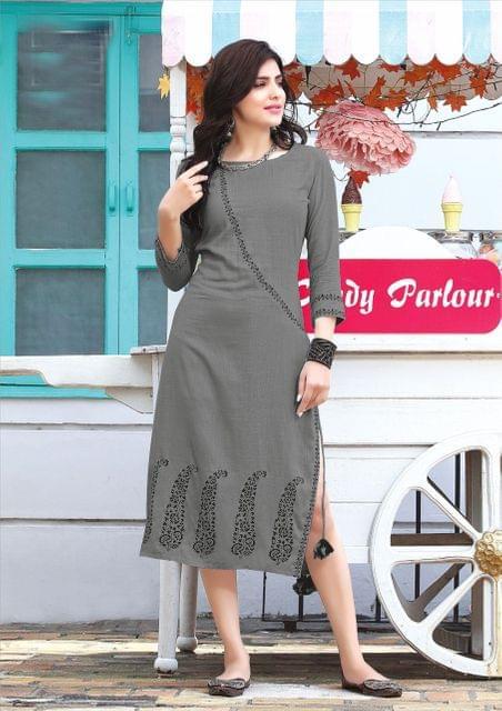 Grey Color Rayon Designer Readymade Kurti 26867