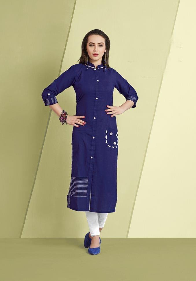 Navy Blue Color Cotton Slub Designer Readynmade Kurti 26871
