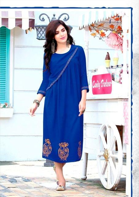 Blue Color Rayon Designer Readymade Kurti 26870