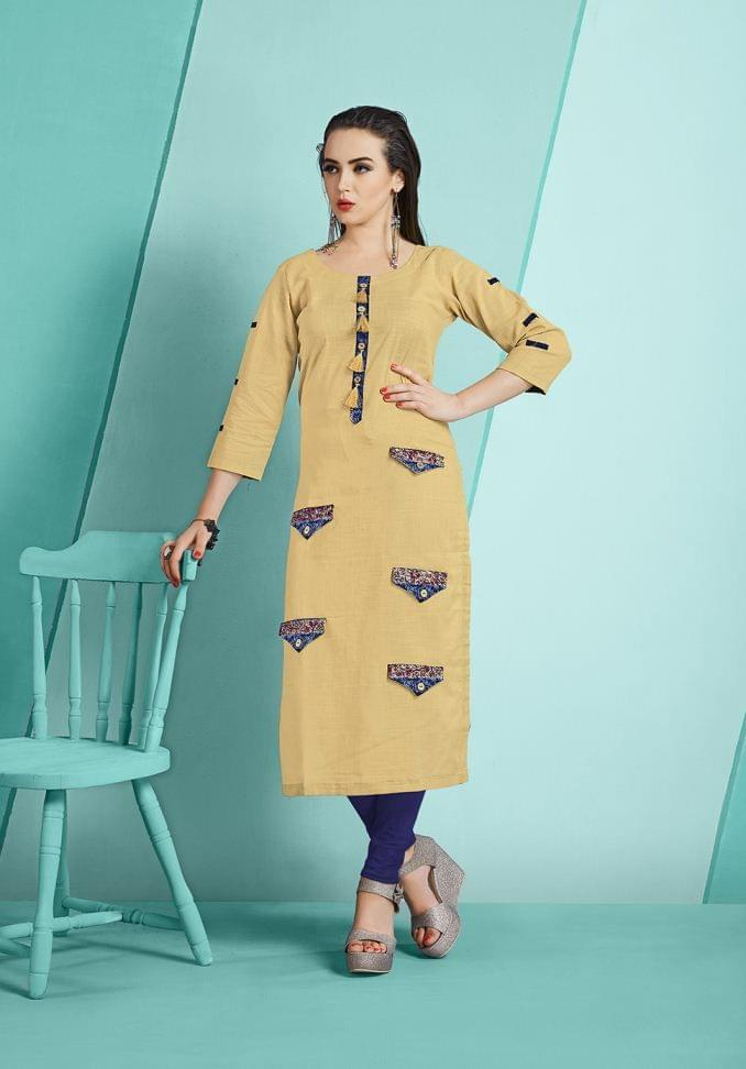 Cream Color Cotton Slub Designer Readymade Kurti 26872