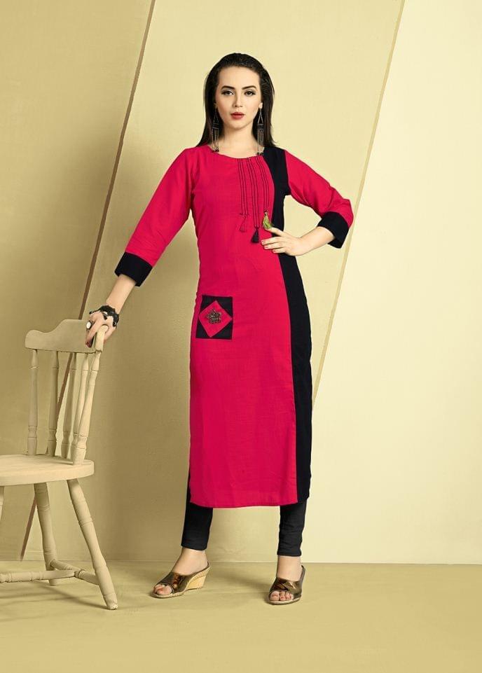Red & Black Color Cotton Slub Designer Readynmade Kurti 26878