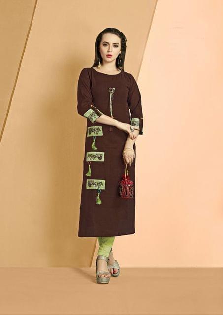 Brown Color Cotton Slub Designer Readynmade Kurti 26877