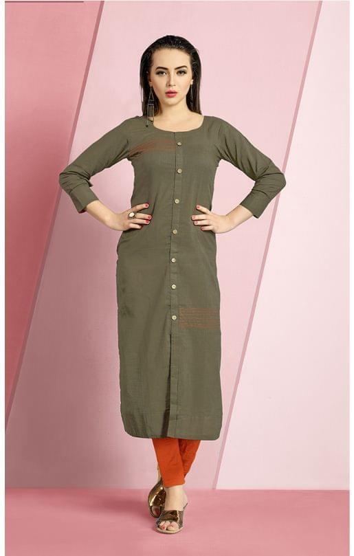 Mahendi Color Cotton Slub Designer Readynmade Kurti 26879