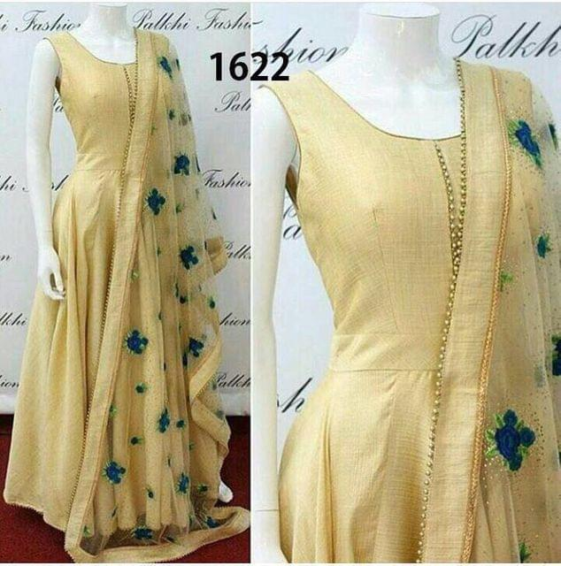 Cream Color Banglori  Plain Banglori Anarkali Suit sty-1622