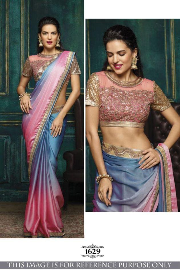 Multi Color Sai Chiffon Padding Saree  1629