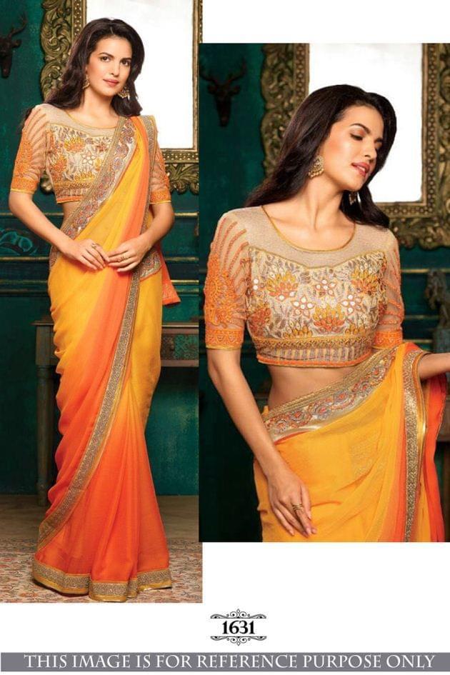 Orange Color Georgette Padding Silk Saree 1631