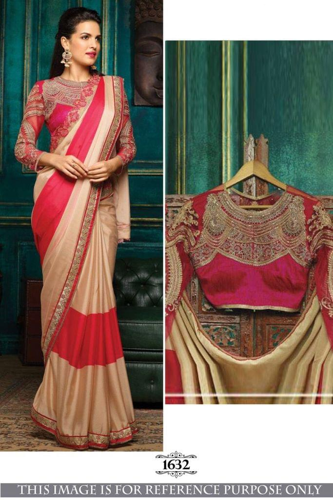 Pink & Cream Color Import Silk Saree  1632