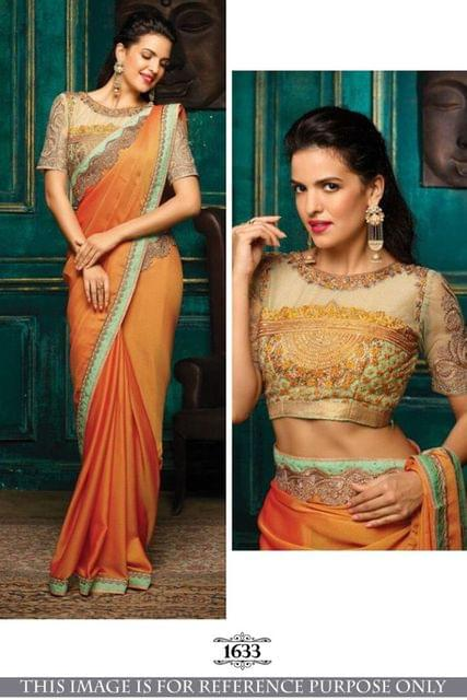 Light Orange Golden Silk Saree  1633