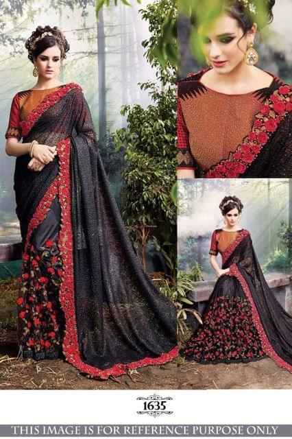 Multi Color Lycra Silk Georgette Saree 1635