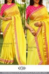 Yellow Color Marble Georgette Silk Saree KT-3215