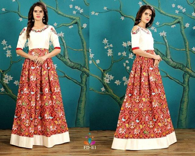 Maroon And White Art Silk Readymade Gown