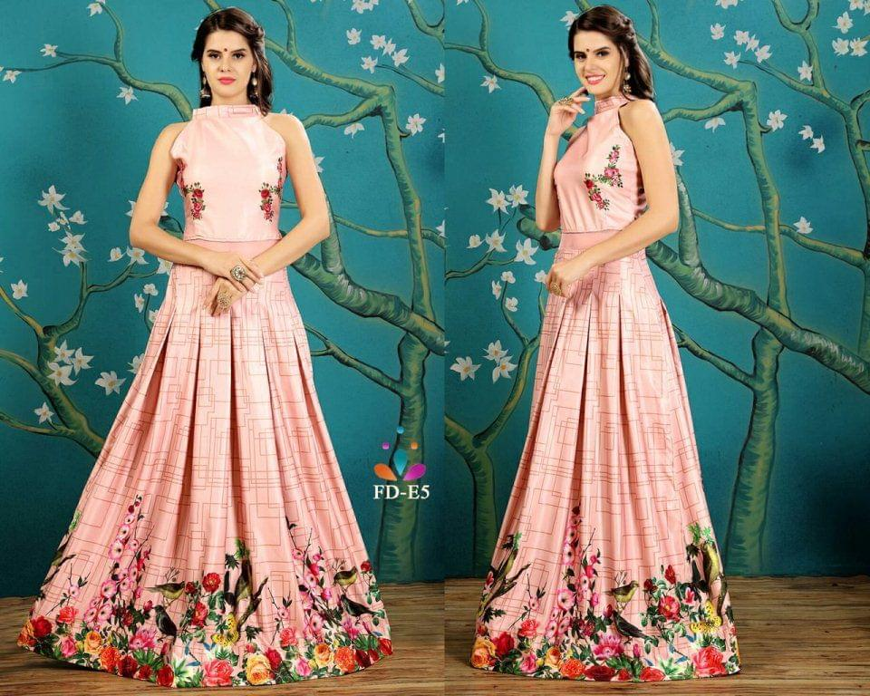 Taffeta Silk Peach Print Work Readymade Gown