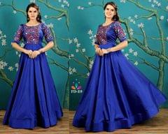 Blue Embroidered Taffeta Silk Readymade Gown