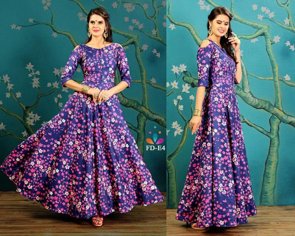 Amazing Taffeta Silk Blue Readymade Gown