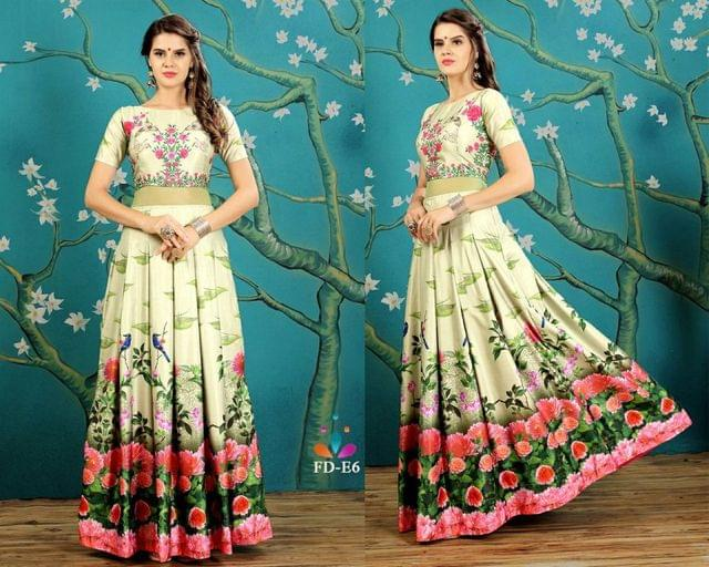 Green Color Silk Print Work Readymade Gown