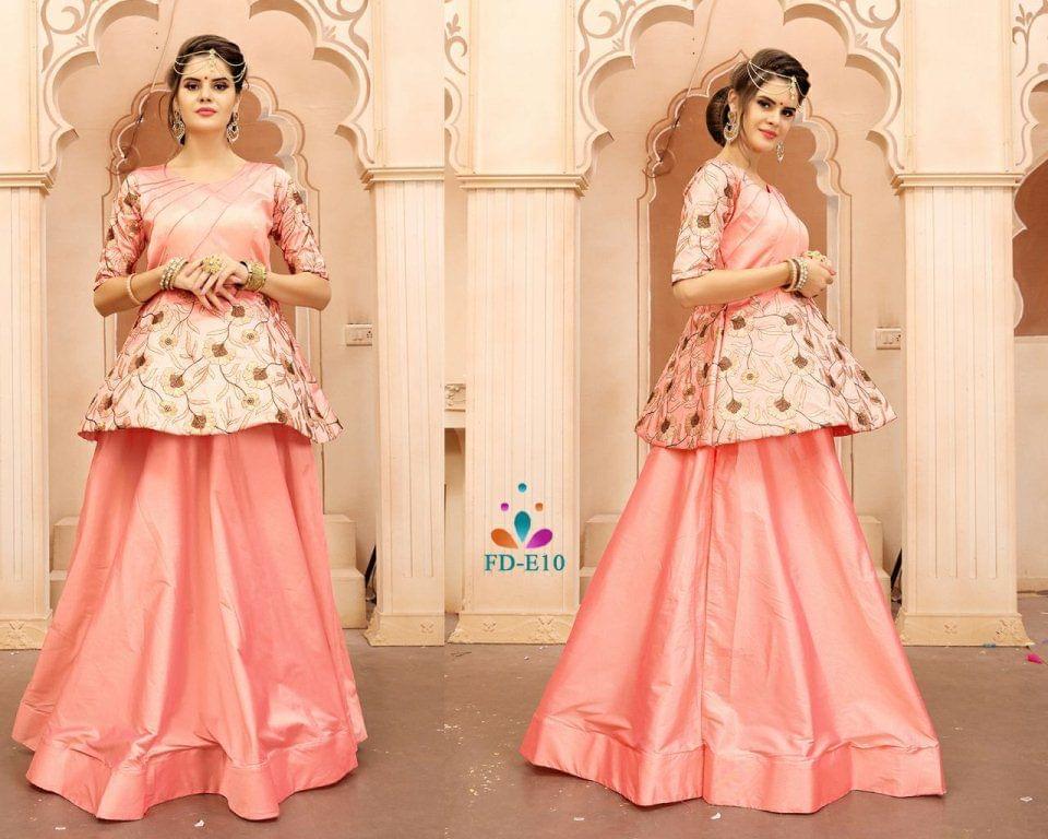 Peach Taffeta Silk Embroidered Work Readymade Gown