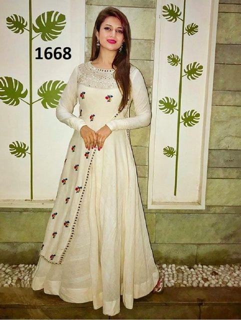 White Fancy Embroidery Work cotton Desinger Semistich Salwar Suit