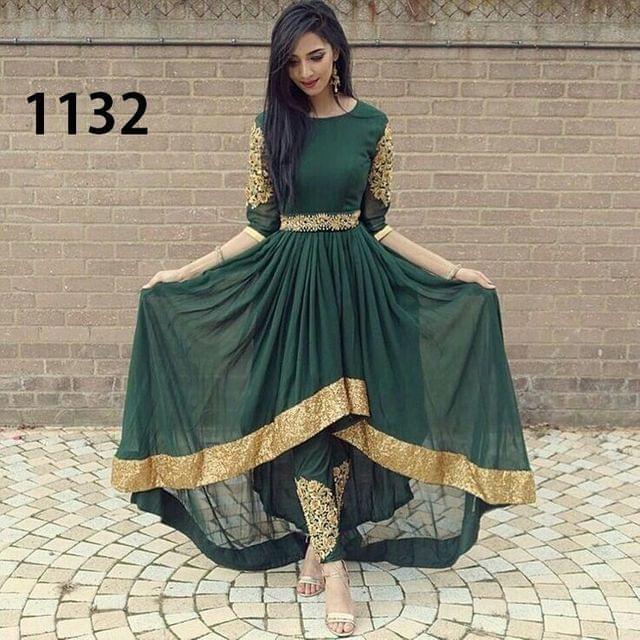 Dark Green Color Heavy Georgette  Anarkali Suit sty-1132