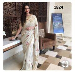 White Color Georgette Saree Sty-1824