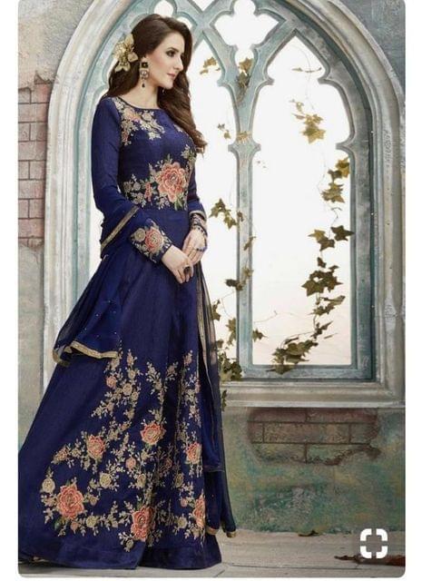 Blue Color Taffeta Anarkali Salwar Suit sty-1790