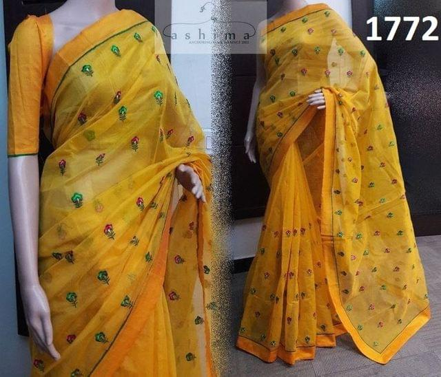 Yellow Color Chanderi Silk Saree  1772