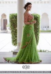 Green Color Nylon Mono Net Saree  KT-3217