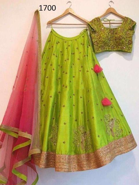 Green Color Paper Silk Lehenga  Choli  Styleaz_1700